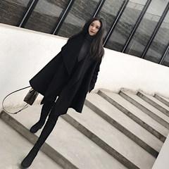 2017 new winter long thin black irregular loose wool cloak coat female woolen coat S black