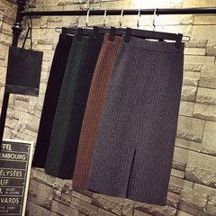 Split skirt, skirt, long skirt, autumn winter, Korean version, high waist dress, long knitted skirt, half skirt, half size skirt, all green ink.