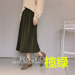 Korean Institute of wind of autumn and winter wool skirt skirt in the long section of the A-line a high waisted skirt dress students F Olive green