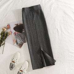 Korean version of 2017 autumn winter new thick edition of thread thread, waist, skirt, skirt, lady, big size The first piece is 45 yuan and the second is the original price Dark grey