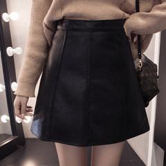 The fall of the new slim leather skirt thin A word skirt black bag hip skirt step a word skirt skirt female S black