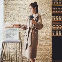 2017 new winter Lantern Sleeve bee Harajuku girls embroidery wool tweed coat Long cocoon woolen coat S Khaki (distribution belt)
