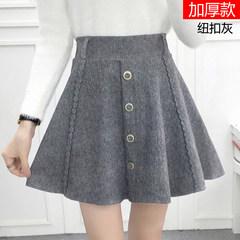 New all-match thickened wool skirt skirt waist skirt Korean student winter short black skirt S The grey breasted