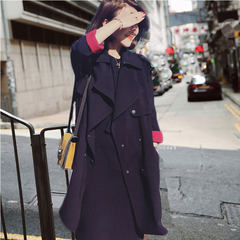 The little girls long windbreaker 2017 new spring loose all-match chic short autumn wind coat in Hong Kong XS black