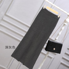 Large size split skirt female knit loose fat mm in spring and autumn and winter long skirt bag hip skirt dress 200 pounds 2XL [160-210 Jin] Dark grey