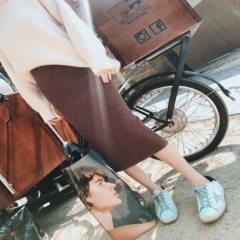 2017 new Hong Kong flavor chic knitted skirt waist split winter long skinny girls bag hip step skirt S Coffee color