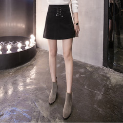 Suede skirt female winter 2017 new Korean students high waisted A-line a bag hip skirt suede skirt M 8538 black