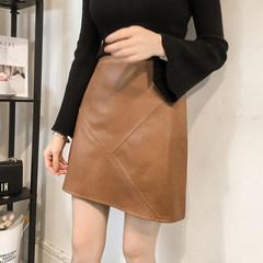 New autumn fashion high waist skirt female PU leather leather skirt thin black A-line a bag hip skirt stitching L Khaki