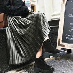 2017 new Korean high waisted skirt and velvet velvet skirt dress female long metal color F Blackish green