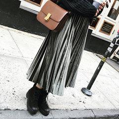 2017 autumn and winter new Korean pleated velvet skirt waist dress slim slim velvet skirt S Olive green