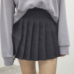 Autumn ladies all-match slim waisted pleated skirt Korean A A-line dress skirt skirt with a student tide lining S black