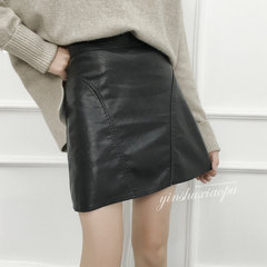Pu black leather skirt bag hip skirt waist skirt skirt dress student bag A-line a small leather skirt female winter S black
