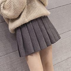 Wool pleated skirt female waist A elastic short skirt student 2017 new winter black skirt. S Dark grey