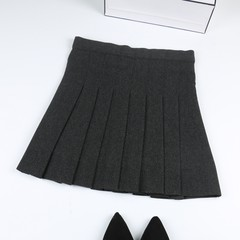 School of thin elastic waist skirt wind skirt female student class service Japanese wool skirt winter skirt XS Dark grey