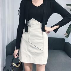 High waisted A-line a irregular skirt skirt fall 2017 new female Korean all-match leather skirt female S Apricot