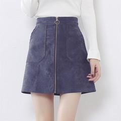 Autumn A word skirt waist bag hip skirt wind winter wool skirt chic Hong Kong flavor retro skirt female students S blue