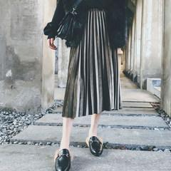 Autumn and winter dress velvet skirt waist dress pleated skirt Korean slim slim skirt pure fluff Limited number 33.8 Olive green