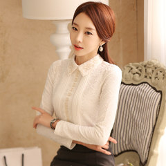 With velvet lace shirt female long sleeved Chiffon Korean spring new winter warm coat lapel thickening slim 3XL White autumn