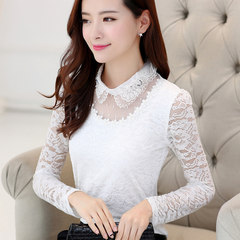 Autumn and winter lace shirt sleeved 2017 female new dress all-match slim plus velvet doll collar shirt shirt tide 3XL White [quality thin money]