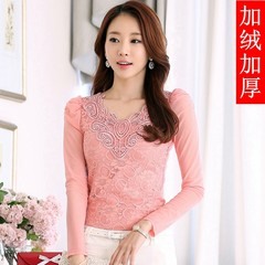 Lace shirt with long sleeves and velvet thickened in autumn and winter female Korean cultivating V collar new mosaic gauze all-match tide 3XL Pink (with cashmere thickening)