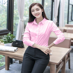 Spring and autumn women's dress, white shirt, women's long sleeve, professional decoration, Korean style chiffon shirt, big size coat, work clothes 3XL Pink