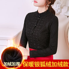 With velvet lace shirt size 2017 new long sleeved thin coat all-match shirt and autumn sweater dress 3XL Black velvet