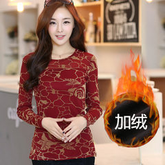 2017 new winter sweater slim lace long sleeved cashmere with thickened size. A lady shirt shirt 3XL Red collar plus velvet