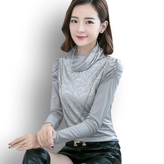 With velvet lace shirt thickened in autumn and winter warm female turtleneck small shirt 2017 new conventional pile collar shirt 3XL Greyish white