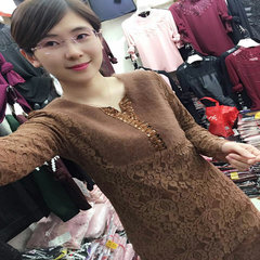 Splicing mink, velvet lace and cashmere shirt, long money in the winter and autumn, V collar women long sleeved self-cultivation jacket 3XL Dark brown