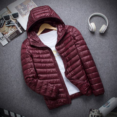 A thin season down jacket collar men size ultra slim slim down youth short jacket 3XL Red wine man cap