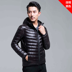 2017 new winter light jacket collar male hooded size ultra thin and light young slim jacket 3XL Black / Hooded