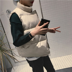 "The couple down cotton vest men and young men and women all-match short thick bread coat Korean tide Male ""XL"" Beige"