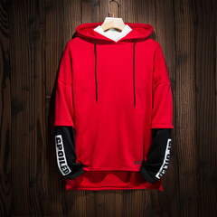2017 new Hoodie men loose jumper autumn color trend of Korean students long sleeved clothes 3XL gules