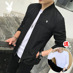 2017 new dandy man coat jacket men handsome leisure Korean spring and autumn tide Baseball Jacket 2XL Black special offer (89 yuan)