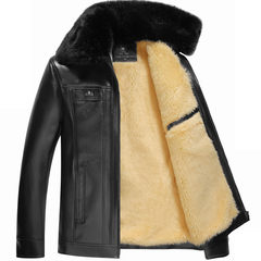 Anti season clearance plus large fur leather cashmere thickened winter jacket in middle-aged male father old winter jacket 50-165-S-105 Jin Black white hair A002