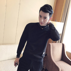 Adidas SUEDE SIZE SWEATER MENS Korean slim plus velvet backing sleeve head tide men thick long sleeved T-shirt 3XL Semi solid black turtleneck and cashmere