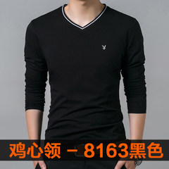 2017 spring men's long sleeve T-shirt wearing thin clothes fall trend Korea backing small SHIRT MENS 165/M 8163 long sleeves black