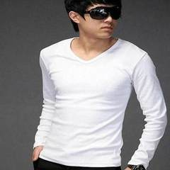 The 2017 men's T-shirt, long sleeved shirt and autumn clothing trend of Korean men's fall handsome thin clothes students 3XL Solid Long Sleeve White one-piece 1