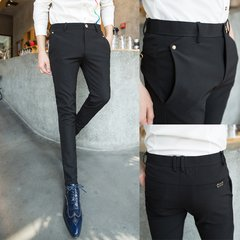 2017 spring and autumn men's casual pants male Korean trousers pants suit small slim hair stylist pants tide 30 (self cultivation version) Black pants 407-