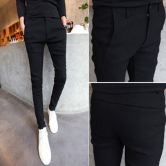 The fall of men's casual pants tight jeans slim Korean small trousers trousers stylist Metrosexual trousers Thirty-four black