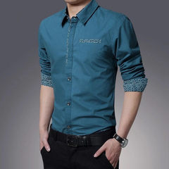Special offer every day in autumn and winter men's long sleeved shirt plus cashmere slim tooling occupation thickened cotton warm shirt inch 3XL Lake blue
