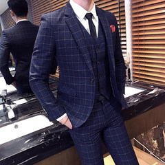 Best man, groom, wedding dress, Korean style Plaid suit, men's three sets of self-cultivation business suit Two sets of 48M (suit + trousers) Tibet Navy
