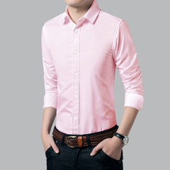The fall of man long sleeved shirt Korean skiny black business casual dress shirt youth occupation ride shirt 165S/90-100 Jin Pink