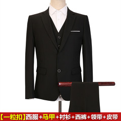 Men's suits, young Korean students, three sets of handsome casual casual suits, men's self-cultivation, a set of British style 3XL Black color