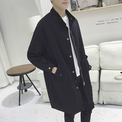 Autumn and winter plus men's windbreaker windbreaker long Korean fashion lovers coat, self-cultivation students coat handsome BF wind XL (about 150-170 pounds can be worn) black