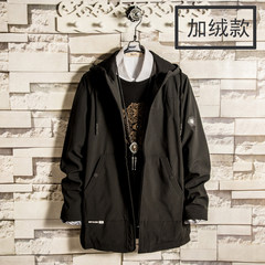 2017 New Style Men's long cap hooded windbreaker, Korean students tide, spring and autumn youth self-cultivation handsome Japanese jacket 3XL Black velvet