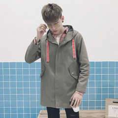 The new version of all-match in autumn and winter long coat male tide brand personality handsome student BF thick coat hip-hop 3XL Grey green