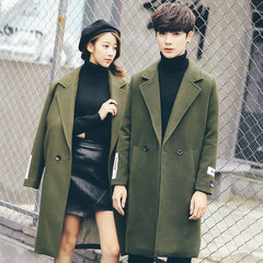 2017 new winter coat in the long section of Korean male couple loose coat fashion woolen coat S Army green