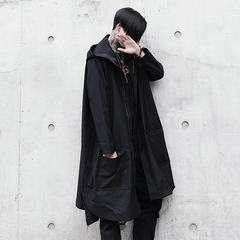 The autumn tide in the long section of new men's country cashmere coat and trend of Korean students thin cloak jacket M black