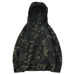 Fall Classic Street vintage green camouflage hooded windbreaker and loose tooling charge tide canvas jacket S Fan color